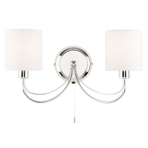 2 Light Wall Bracket In Chrome With White Shades PHANTOM-2WBCH